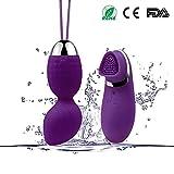 Bullet Vibrator- Kegel Exercise Weights Ben Wa Kegel Balls Waterproof Weighted Dual 10 Speed Remote Control Waterproof Rechargeable Exercise Kit (purple)