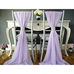 WDPL 10pcs 100D Chiffon Chair Sashes Bow Table Runner Wedding Party Reception Decoration Lilac