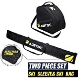 Aumtisc Ski Bag and Boot Bag Combo for 1 Pair of Ski and Boots,Adjustable Length Ski Bag (Black)