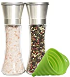 Premium Stainless Steel Salt and Pepper Grinder Set of 2 - Adjustable Ceramic Sea Salt Grinder & Pepper Grinder - Tall Glass Salt and Pepper Shakers - Pepper Mill & Salt Mill with Free Funnel & EBook
