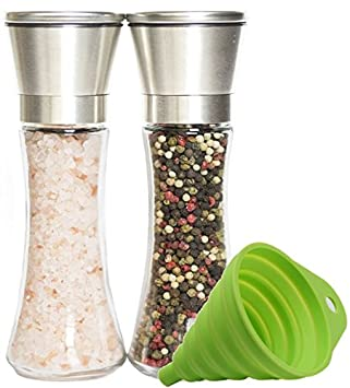 Premium Stainless Steel Salt and Pepper Grinder Set of 2 - A...
