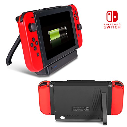 Nintendo Switch Battery Charger Case KINGTOP 10000mAh Power Case for Nintendo Switch With Kickstand & Game Card Slot for Nintendo Switch 2017-Black (10000mAh)