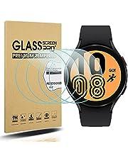 Diruite 4-pack för Samsung Galaxy Watch 4 44 mm skärmskydd härdat glas för Samsung Galaxy Watch 4 44 mm smartklocka [2,5D 9H hårdhet] [Anti-repa] [Optimerad version]