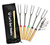 """Marshmallow Roasting Sticks Extendable 32"""" Telescoping Rotating Forks 5 Piece set with Bonus 5 Interchangeable Heads, 10 Bamboo Skewers and Storage Bag By Kitchenson Campfires, Camping, Fire Pit, BBQ"""