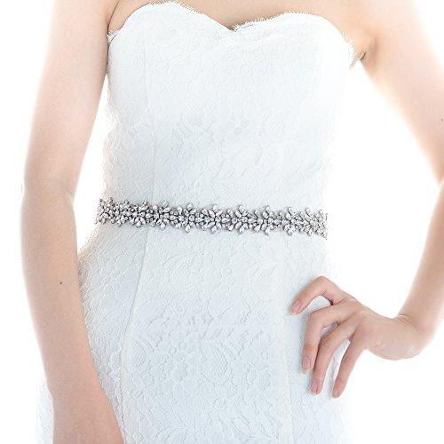 Top Queen Women's Crystal Diamond Bridal Belt Sashes Wedding Belts Sash for Wedding (Off White)