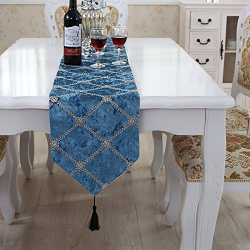 Luxury western morden blue checker table runners 90 inch app