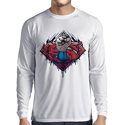 lepni.me Long Sleeve Men's T-Shirt My Superhero, Awesome Party Outfits, Great Gift Ideas (X-Large White Multi Color) -