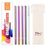 JOYECO 4 Pcs Stainless Steel Boba Straws, FDA Standard Big Straws Smoothies Reusable, 0.5 inches Wide Straw 9.5 inches Long for Bubble Tea, Juice, Thick Milkshakes, Rainbow Multi-Colored