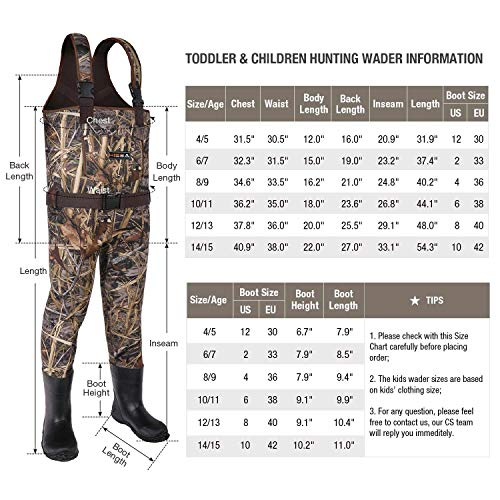 HISEA Kids Waders Neoprene Youth Toddler /& Children Chest Rubber Bootfoot Waders