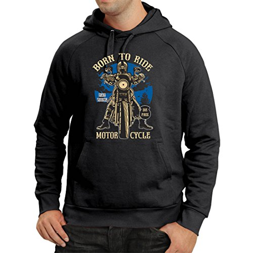 Hoodie Live Young - Die Free - Born to Ride Motorcycle, Gift Ideas for Bikers, Inspirational Slogans (XXX-Large Black Multi Color)