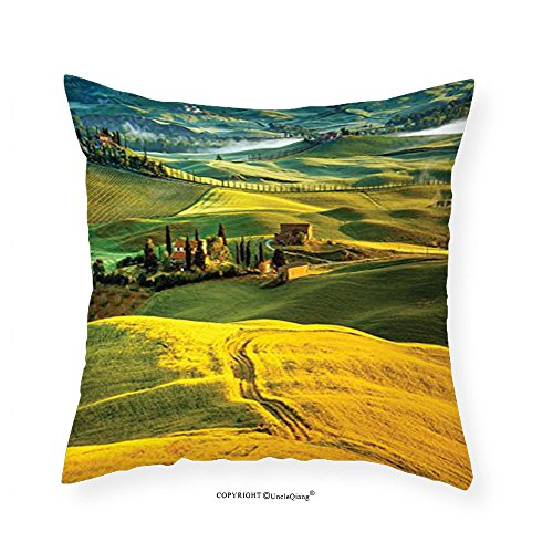 VROSELV Custom Cotton Linen Pillowcase Tuscan Decor Collection Twisting Road and Cypresses to Medieval Vineyard Farmhouse Picture Bedroom Living Kids Girls Boys Room Dorm Accessories Mustard - Oklahoma To Quilt Road