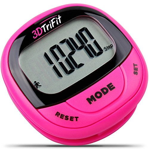 3DTriFit 3D Pedometer Activity Tracker with Built-in Clip | Pause & Resume Feature, 7-Day Memory, Accurately Track Steps, Calories, Miles/Km. Best Pedometer for Walking for Women, Men & Kids (Magenta)