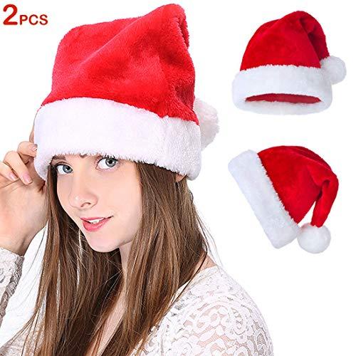 Santa Hat for Adult, Plush Red Velvet Comfort Liner Christmas Santa Hats for Men and Women (2 Pack)