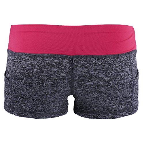 Gazechimp Pantalones Cortos Del Deporte Aptitud De Funcionamiento Del Gimnasio De Yoga Pantalones Cortos Para Mujeres Del Verano gris+rosa