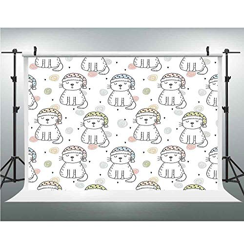 Seamless Vinyl Photo Backdrop,Doodle,Photography Background Red Wood Backdrop,5x6.5ft,Sleepy Cat Colorful Hats Night Time Good Night Cute Animals