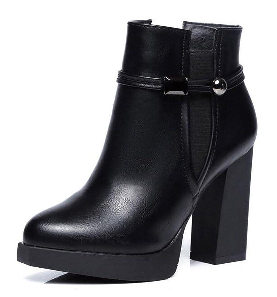 Easemax Damen Hübsch Spitze Zehe Kurzschaft Zipper High Heels Plateau Pumps Stiefel