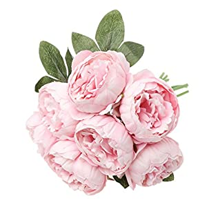 cici store Artificial Silk Fake Peony 7 Heads Flowers - Wedding Party Home Decoration Photography Props (Light Pink) 26