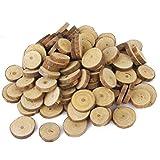 Fenical 100pcs 3CM Wood Log Slices Discs for DIY Crafts Wedding Centerpieces