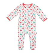 BESTAROO Baby Girl Flamingo Zippered Footie Size 0-3m