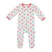 Bestaroo Baby Girl Flamingo Zippered Footie