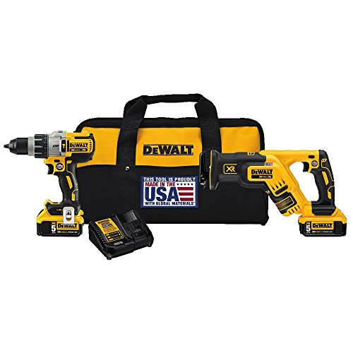 DEWALT DCK294P2 20V Max XR Lithium Ion Hammerdrill & Reciprocating Saw Combo Kit, 50Ah Pack
