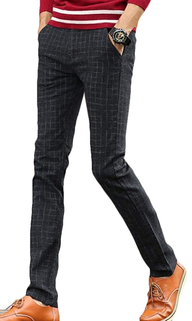 UUYUK Men Stretch Plaid Juniors Casual Straight Leg Pants