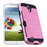 Galaxy S4 / I9500 Case by CHENXI Card Slot Brushed Armor Dual Layer Hybrid silicone Rubber + TPU Shock Absorbing Cover Case for Samsung Galaxy S4 / I9500 Pink