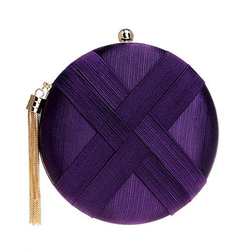 Soie Mesdames Rond Purple Nuptiale Clutches Finissants De Mariage De Bal SoiréE Pochette Main Sac Sac Femmes à qXxBwHX