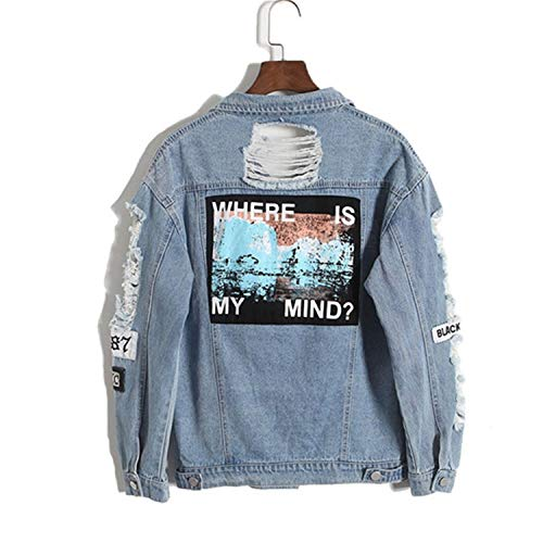 Outerwear Denim Loose Pragmaticv Embroidery Color Applique Wash BF Vintage Back Fashion Jacket Female Water Blue Distrressed Letter Denim Hole Coat zaXzq