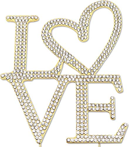 (Love Cake Topper with Heart, Wedding Engagement Anniversary Decorations, Crystal Rhinestone Gold)