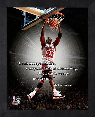 Michael Jordan Chicago Bulls NBA ProQuotes® Photo (Size: 12'' x 15'') Framed by NBA