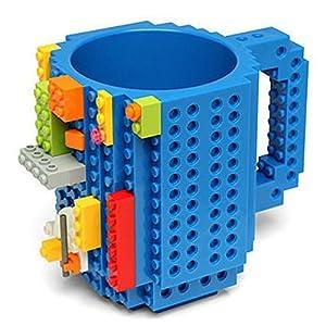 Chichen Creative DIY Build-on Brick Mug Lego Style Puzzle Mugs, Building Blocks Water Bottle Frozen Coffee Mug, Christmas Gift Toy Mugs (Blue)
