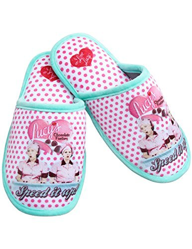 I Love Lucy Chocolate Factory Polka-Dot Scuff Slippers w/ Non-Skid Soles