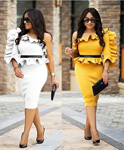 Clubwear White Dress Layer Flounced Sexy Slim Hip Midi Shoulder Oblique Womens Air Package Didala Oq18w