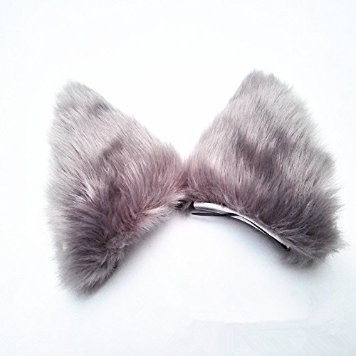 Girls Lovely Long Fur Cat Ears Fox Head Band Hair Band Halloween Party Decoration Cosplay Costume (Grey)