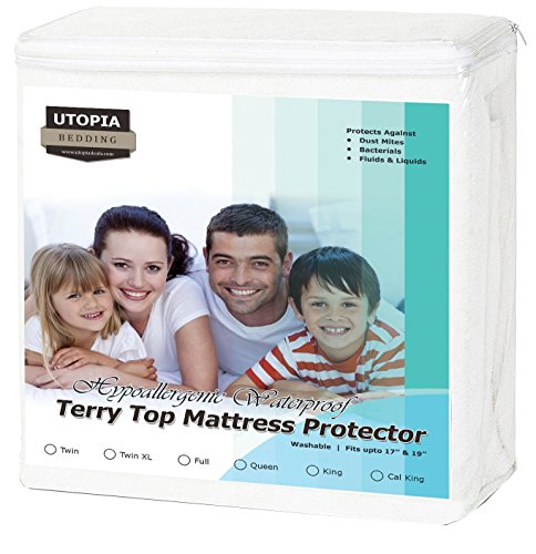 Premium Hypoallergenic Waterproof Mattress Protector - Vinyl Free - Fitted Mattress Cover (Twin) - by Utopia Bedding