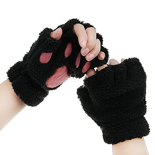 Himine Cat Claw Bear Paw Fingerless Winter Plush Gloves 1*Pair (Black)