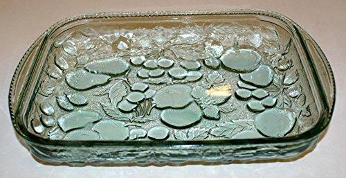 "Vintage Libbey Rock Sharpe Orchard Fruit Green Glass Rectangular Casserole Baking Dish - 9 x 13"""