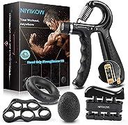 NIYIKOW Grip Strength Trainer Kit (5 Pack), Counting Grip Strength, Adjustable Hand Grip Strengthener, Finger