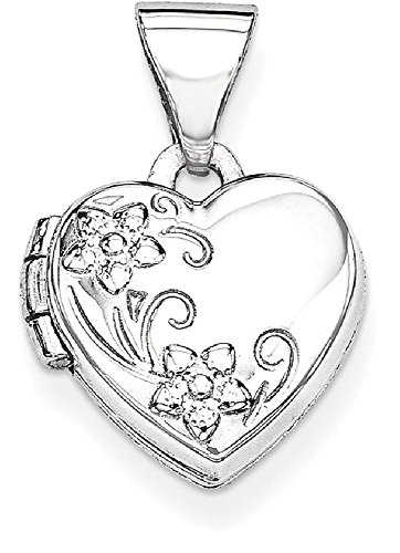 ICE CARATS 14k White Gold Heart Shaped Floral Photo Pendant Charm Locket Chain Necklace That Holds Pictures by ICE CARATS