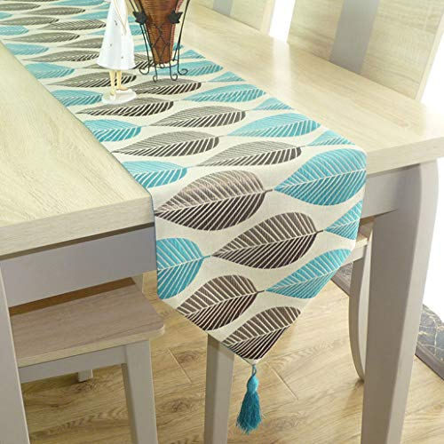 ROGEWIN Table Runner Modern Refined Linen Cotton Cloth Leaf Jacquard Classical Tassels Wedding Party Home Decoration