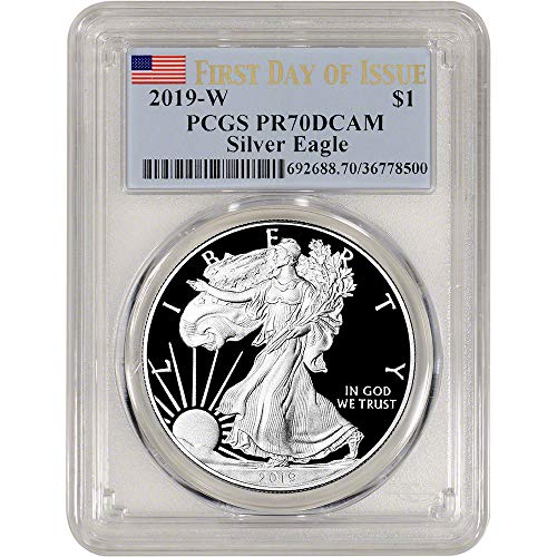 Issue Flag First - 2019 W American Silver Eagle Proof First Day Issue Flag Label $1 PR70 PCGS DCAM
