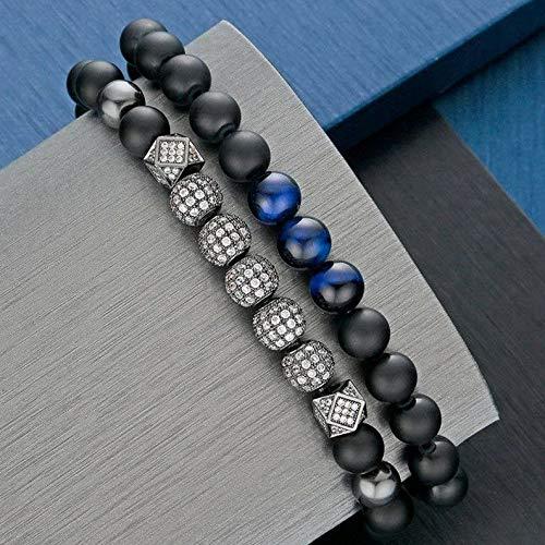 (Mikash Luxury Men 8mm Matte Onyx Stone Inlay CZ Balls Charm Beaded Stretch Bracelet Set | Model BRCLT - 9207 |)