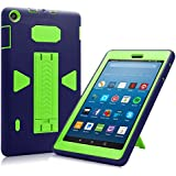 All-New Amazon Fire HD 8 2017 Case, Eontry Heavy Duty Full Body Cover Rubber Plastic Protective Case with Build-in Kick Stand For All-New Fire HD 8 (7th Gen 2017 Release) (Navy + Green)