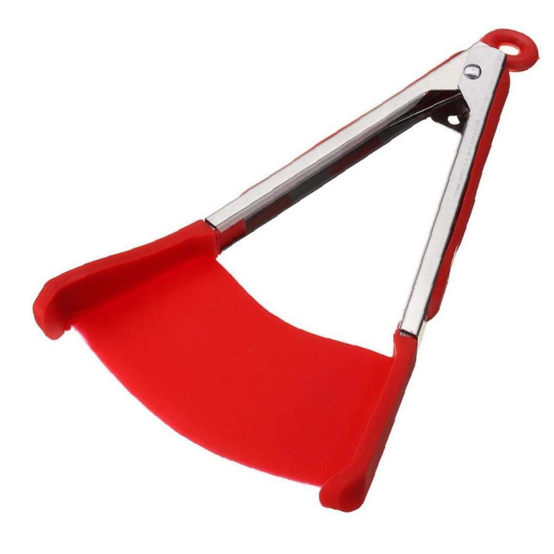 Angoter 2 in 1 Clever Kitchen Spatula and Tongs Non-Stick Heat Resistant Stainless Steel Frame Silicone Tongs Kitchen Gadget Random Color