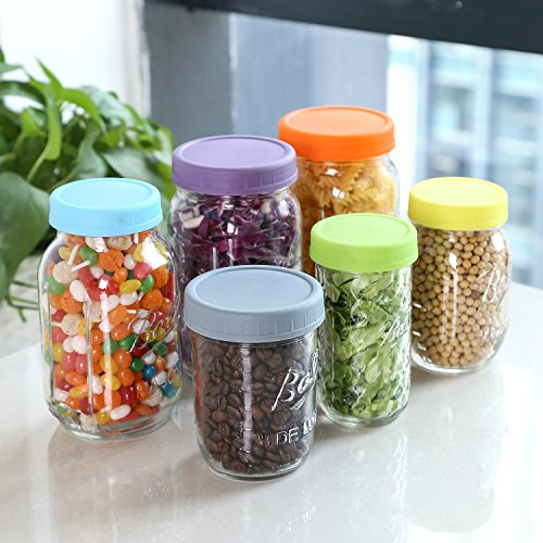 Aozita 12 Piece Colored Plastic Mason Jar Lids for Ball and More - 6 Regular Mouth & 6 Wide Mouth - Plastic Storage Caps for Mason Jars