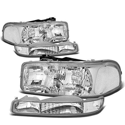 (For GMC Sierra/Yukon GMT800 4Pcs Chrome Housing Clear Corner Headlight+Bumper)