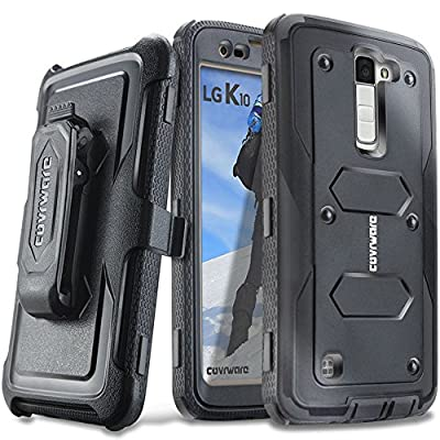 COVRWARE® LG K10 / LG Premier LTE - [Aegis Series] with Built-in [ Screen Protector ] Heavy Duty Full-Body Rugged Holster Armor Case & Belt Swivel Clip [Kickstand] by COVRWARE