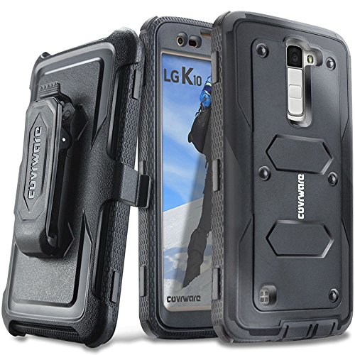 COVRWARE LG K10 / LG Premier LTE - [Aegis Series] with Built-in [ Screen Protector ] Heavy Duty Full-Body Rugged Holster Armor Case & Belt Swivel Clip [ Kickstand ] - Black (CW-K10-AG01)