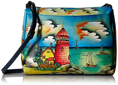 (Anna by Anuschka Genuine Leather East West Crossbody Bag | Hand-Painted Original Artwork | Lighthouse)
